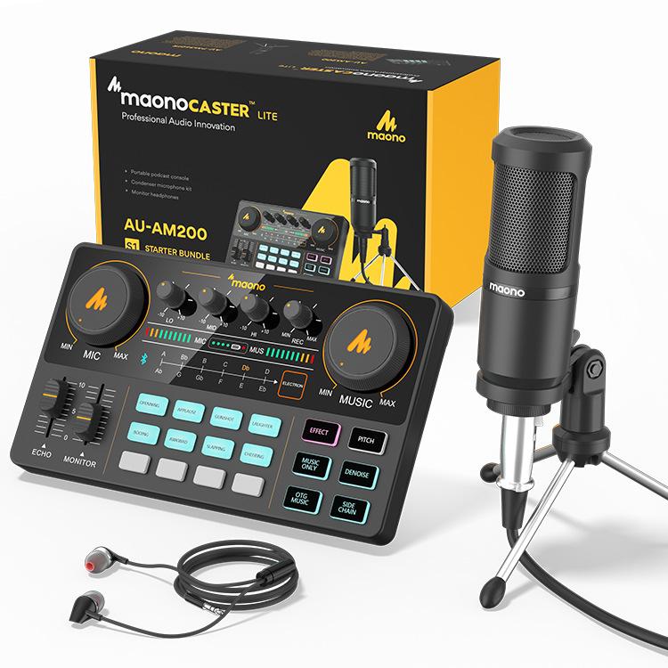 MAONO麦克风调音声卡带耳机直播声卡套装-电脑手机降噪直播设备